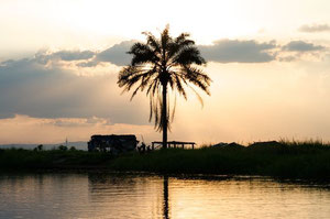 Village sur une île entre Kinshasa et Brazzaville