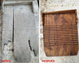 Restauración de tabla de lavar de principios del siglo XX.