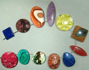 Edelstein-Anhänger, gebohrt, ca. 3-6 cm