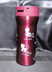 商品例 お名前やオリジナルデザインを彫刻した一点物のステンレスボトル