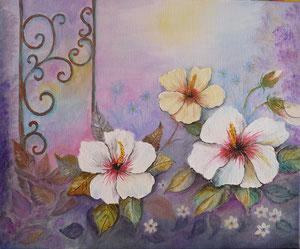 Hibiscus blancs(huile 40 x 50 cm)-Copyright Pascale Richert
