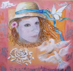 Femme aux colombes (huile 50 x 50 cm)- Copyright Pascale Richert