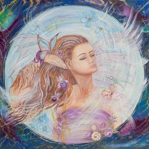 Femme Papillon (huile 80x80 cm) - Copyright Pascale Richert