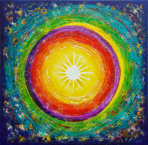 Mandala nuit (huile 55x55 cm) - Copyright Pascale Richert
