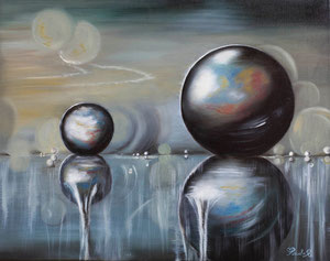 Glissade de  Bulles (huile 50x40 cm) - Copyright Pascale Richert