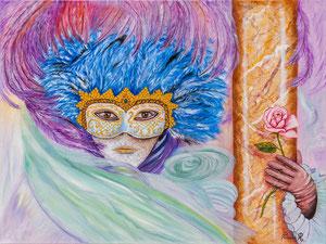Masque aux plumes (huile 80x60 cm ) - Copyright Pascale Richert