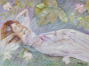 Belle endormie (huile 80x60 cm) - Copyright Pascale Richert