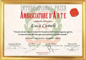 Luca Cameli - Premio Internazionale Ambasciatore d'Arte 2019 (Istanbul - Pechino - Shanghai - Tokyo) indetto dall'Associazione Spoleto Arte di Bassano del Grappa
