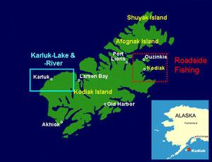 Insel Kodiak, rot = Strassensystem / blau = Karluk-River