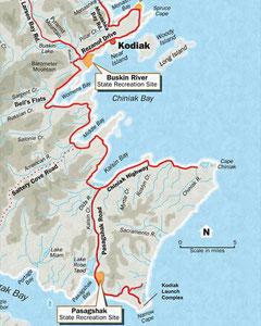 Strassensystem von Kodiak und Flüsse