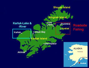 Insel Kodiak, red = Roadsystem / blue = Karluk River