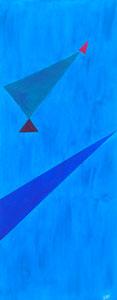 SAS_16-25 Vier Dreiecke auf Himmelblau (150 x 50 cm)