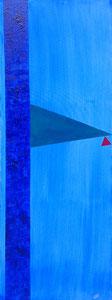 SAS_16-21 Dreieck in türkis + rot auf Himmelblau (150 x 50 cm)