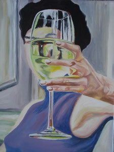 Frau mit Glas / Oil on Canvas 40 cm x 50 cm
