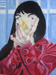 Frau mit Schminkspiegel / Oil on Canvas 40 cm x 50 cm