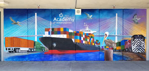 Mural for the Port of Long Beach & LBUSD at Cabrillo High School in Long Beach, in the Academy of Global Logistics Quad.