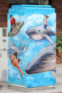 Traffic Control Box Mural for the City of Long Beach. Located in Belmont Shore on 2nd St.