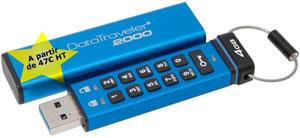 Chiffrement matériel: AES 256 bits , Protection code PIN via clavier alphanumérique , FIPS 197
