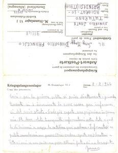 1944 - Avviso dalla prigionia 8 febbraio 1944 2