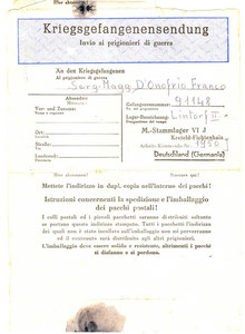 1944 - Istruzioni invio pacchi ai prigionieri di guerra 2