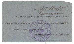1945 - Cartolina croce rossa italiana 1