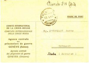 1944 - Cartolina croce rossa internazionale