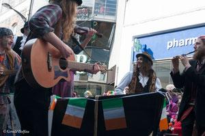 Irlande, Comté du Connemara, Galway, parade de la St-Patrick, musiciens irlandais
