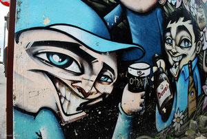 Graff sur un mur de Galway en Irlande