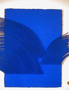 René Galassi Calicots et pigments-papier Moulin de Larroque en bas relief-pigments bleus sous Plexiglas-130X100cm-Galerie Gabel-Biot-côte d'Azur