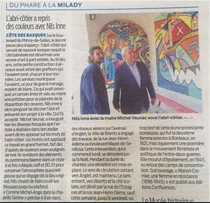Nils avec le maire de Biarritz pour l'inauguration de sa fresque en 2016
