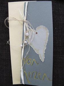 """karte """"von herzen"""", im format 29 x 11,5 cm, mit innenblatt und passendem couvert, fr. 11.--"""