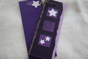weihnachtskarte in den farben violett-lila-glitzer, 29 x 11,5 cm, mit innenblatt und passendem couvert, fr. 11.50