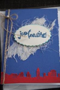 """hochzeitskarte zum thema """"usa-reise"""", format 21 x 15 cm, mit innenblatt und kleinem couvert für geldgeschenk, inkl. couvert, fr. 11.00"""