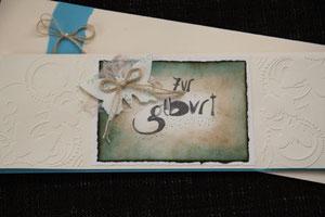 """glückwunschkarte """"zur geburt..."""" format 10,5 x 29 cm, inkl. innenblatt und passendem couvert, fr. 11.00"""