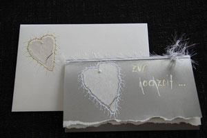 hochzeitskarte, format ca. 14 x. 21 cm, mit innenblatt und passendem couvert, fr. 11.00
