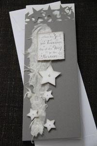 """weihnachtskarte """"nimm dir zeit zum träumen, es ist der weg zu den sternen"""", format 29 x 11,5 cm, grau mit innenblatt und passendem couvert, fr. 11.50"""