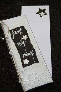 weihnachtskarte in den farben beige-braun-glitzer, 29 x 11,5 cm, mit innenblatt und passendem couvert, fr. 11.50