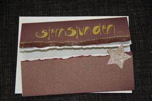 """weihnachtskarte in braun/gold, 15 x 21 cm, mit text """"sternstunden..."""", mit innenblatt und passendem couvert, fr. 9.50"""