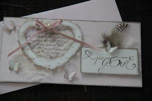 """glückwunschkarte """"zur geburt"""", sehr aufwändig gearbeitet, inkl. innenblatt und passendem couvert, fr. 11.00"""
