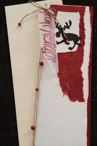 weihnachtskarte in den farben weiss-rot-braun, 29 x 11,5 cm, mit innenblatt und passendem couvert, fr. 11.50