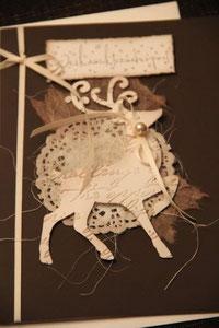 """weihnachtskarte """"weihnachtszauberpost"""", dunkelbraun mit stanzteil hirsch, format ca. 15 x 21 cm, mit innenblatt und passendem couvert, fr. 9.50"""