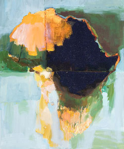 Africa 14, 2005, 60 x 49 cm, oil and fabric on canvas