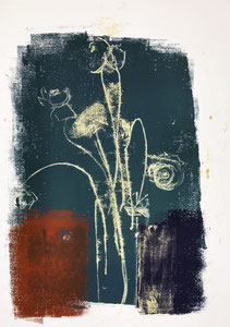 Blumen in Vase 1, 2015, 60 x 42 cm, on paper on wood