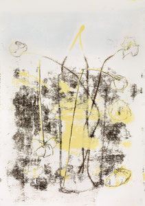 Blumen in Vase 4, 2015, 60 x 42 cm, printing ink on paper on wood