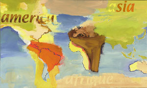 world map, 2001, 76 x 127 cm, oil on canvas