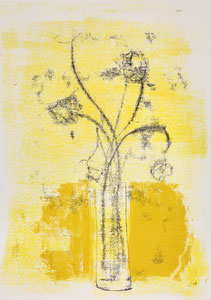Blumen in Vase 2, 2015, 60 x 42 cm, on paper on wood