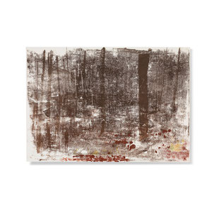 Wald 1, 2013, 42 x 60 cm, printing ink on paper on wood