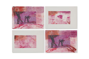 lawyers protest in Uganda, 2013, series of 4 monotypes, 21 x 30 cm, on paper on wood