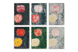 flowers 1 – 6, 2014, series of 6 monotypes, 60 x 42 cm, on paper on wood