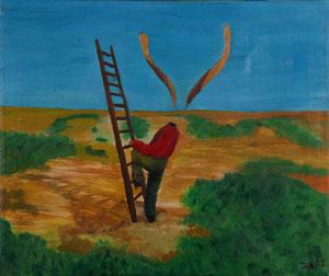 Die Leiter,,,,,,,,,,,,,,,,,,,,,,,,Oel auf Leinwand.........50 * 60 cm.........................2002..